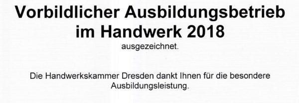 vorbildlicher Ausbildungsbetrieb in Sachsen
